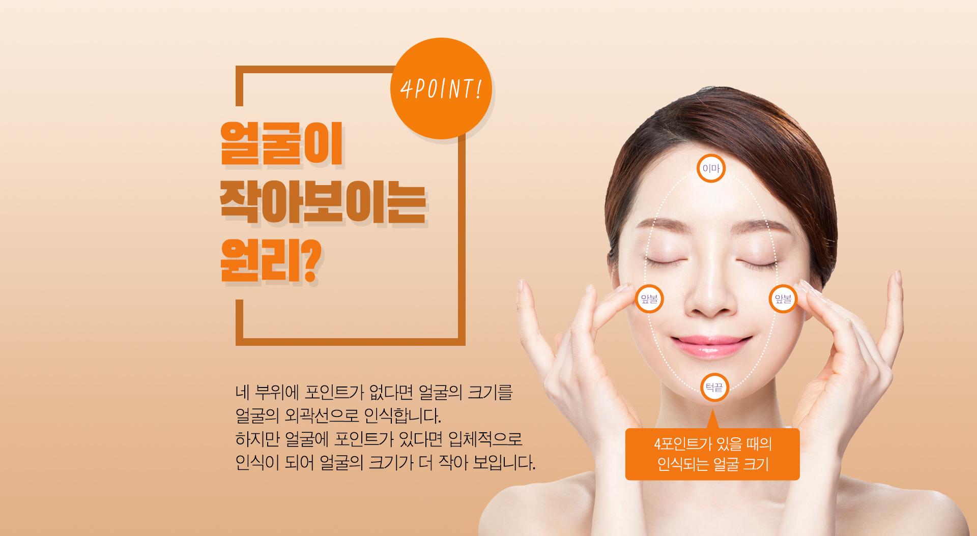 얼굴이 작아보이는 원리? 이마 – 앞볼(왼쪽) - 앞볼(오른쪽) - 턱 끝 네 부위에 포인트가 없다면 얼굴의 크기를 얼굴의 외곽선으로 인식합니다. 하지만 얼굴에 포인트가 있다면 입체적으로 인식이 되어 얼굴의 크기가 더 작아 보입니다.