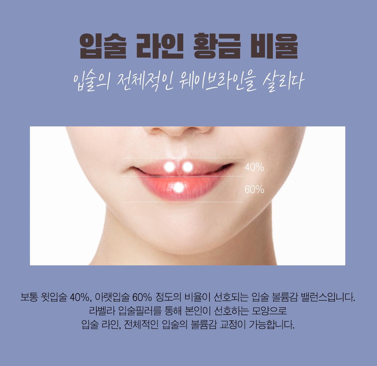 강남 신논현역 피부과 성형외과 라벨라 보통 윗입술 40%, 아랫입술 60% 정도의 비율이 선호되는 입술 볼륨감 밸런스입니다. 라벨라 입술필러를 통해 본인이 선호하는 모양으로 입술 라인, 전체적인 입술의 볼륨감 교정이 가능합니다.